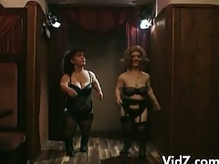 Horny midgets dance and strip off their sexy clothes overhead stage