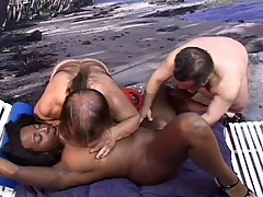 Black Girl sucking and screwing 2 little lifeguards